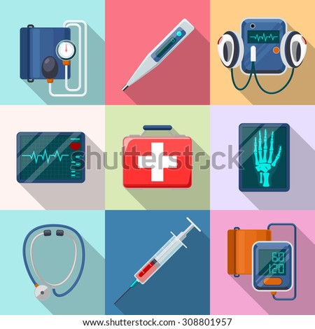 Medical devices set. Tonometer and phonendoscope, defibrillator and X-ray.  Care and tool, healthcare and aid, equipment collection, cardiogram and instrument, vector illustration - stock vector