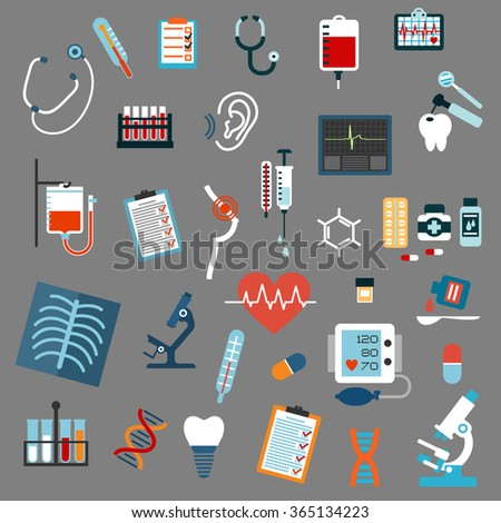 Medical diagnostics and equipment flat icons with stethoscopes, microscopes, thermometers, pills, syringe, blood test and bags, x-ray, ecg, blood pressure, hearing and breast testing, dna and tooth  - stock vector