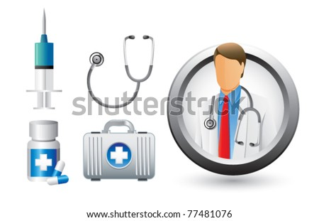 Medical doctor and equipment - stock vector