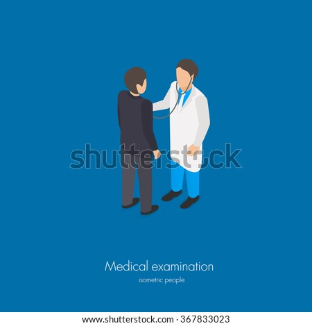 Medical doctor examination isometric vector illustration with stethoscope - stock vector