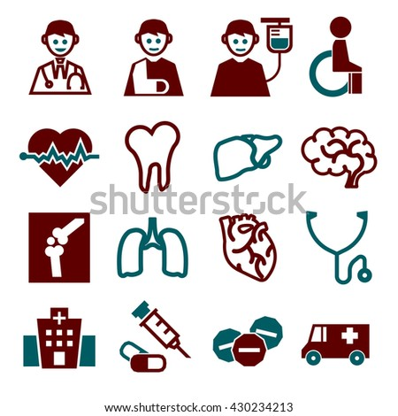 medical, doctor, hospital icon set - stock vector