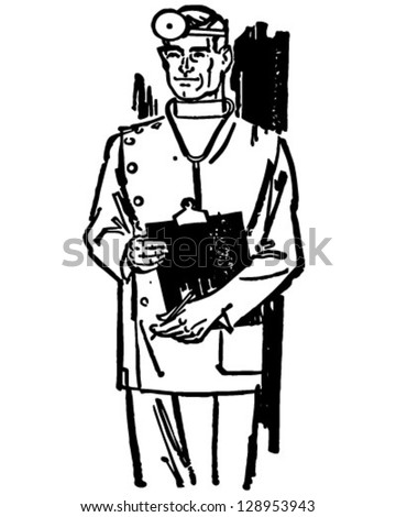 Medical Doctor With Chart - Retro Clip Art Illustration - stock vector