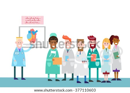 Medical Doctors Group People Intern Lecture Human Body Heart Study Vector Illustration - stock vector