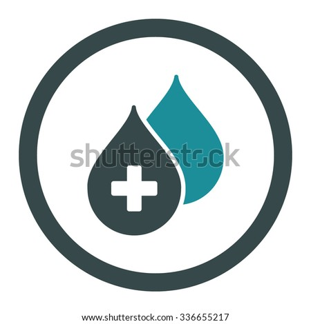 Medical Drops vector icon. Style is bicolor flat rounded symbol, soft blue colors, rounded angles, white background. - stock vector