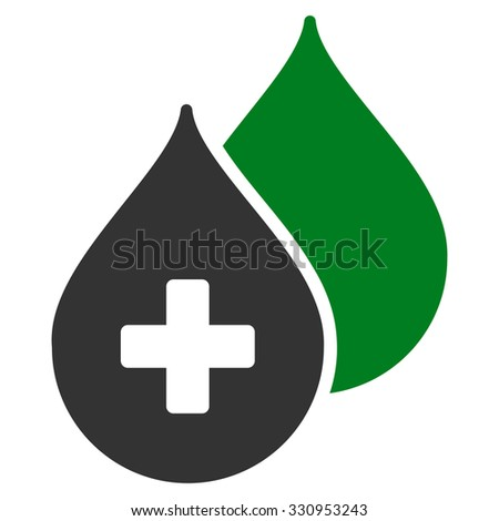Medical Drops vector icon. Style is bicolor flat symbol, green and gray colors, rounded angles, white background. - stock vector