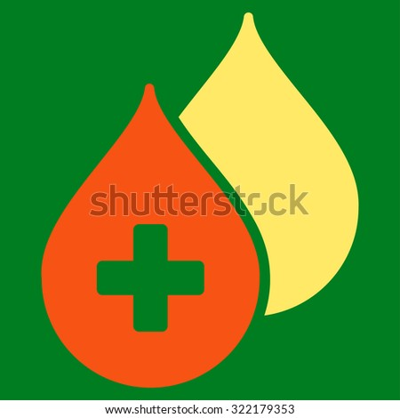 Medical Drops vector icon. Style is bicolor flat symbol, orange and yellow colors, rounded angles, green background. - stock vector