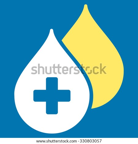 Medical Drops vector icon. Style is bicolor flat symbol, yellow and white colors, rounded angles, blue background. - stock vector