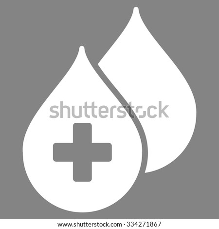 Medical Drops vector icon. Style is flat symbol, white color, rounded angles, gray background. - stock vector