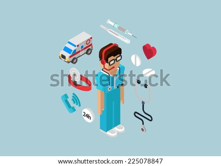 Medical emergency ambulance car all-day first aid service professional doctor nurse flat 3d isometric pixel art modern concept vector web illustration materials website infographics pixelart pills - stock vector