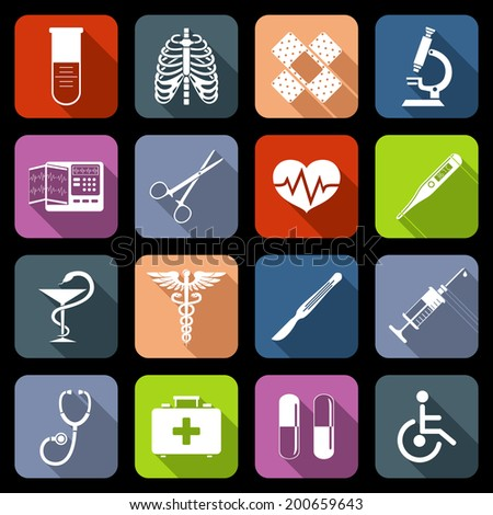 Medical emergency first aid care icons flat set with syringe heart vaccine isolated vector illustration - stock vector