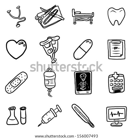 medical equipment and medicine objects or icons set / cartoon vector and illustration, hand drawn, sketch style, isolated on white background. - stock vector
