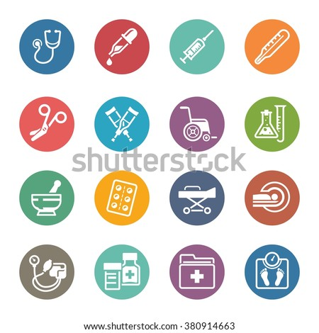 Medical Equipment & Supplies Icons - Dot Series   - stock vector