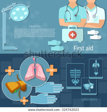 Medical examination professional doctors emergency hospital therapist physician surgeon x-rays human organs vector banners - stock vector