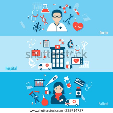 Medical flat banners set with doctor hospital patient element isolated vector illustration - stock vector