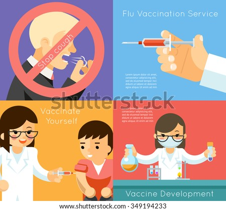 Medical flu vaccination concept background. Vaccine against virus, syringe and care, vector illustration - stock vector