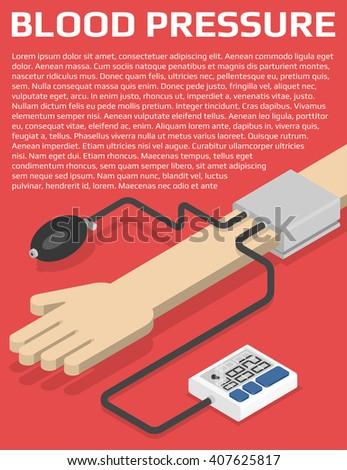 Medical flyer design template. Blood pressure monitor on hand. Isometric vector illustration - stock vector