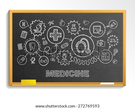 Medical hand draw integrate icon set on school board. Vector sketch infographic illustration. Connected doodle pictogram: healthcare, doctor, medicine, science, emergency, pharmacy interactive concept - stock vector