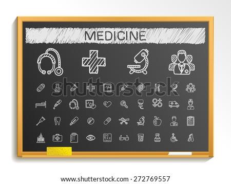 Medical hand drawing line icons. Vector doodle pictogram set: chalk sketch sign illustration on blackboard with hatch symbols: hospital, emergency, doctor, nurse, pharmacy, medicine, health care. - stock vector