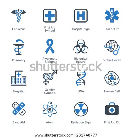 Medical & Health Care Icons Set 1 - Blue Series - stock vector
