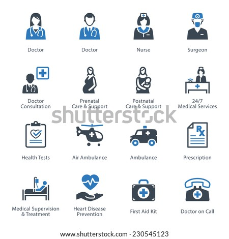 Medical & Health Care Icons Set 1 - Services  - stock vector