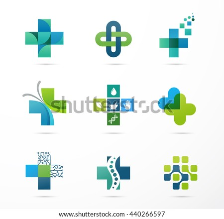 medical, healthcare and pharmacy icons - stock vector