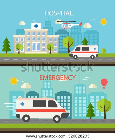 Medical horizontal web banner set with hospital building and emergency car, vector illustration.Concept of emergency service with ambulance car and emergency help helicopter, flat style. - stock vector