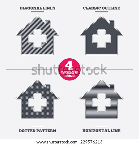 Medical hospital sign icon. Home medicine symbol. Diagonal and horizontal lines, classic outline, dotted texture. Pattern design icons.  Vector - stock vector