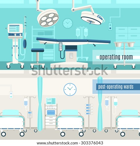 Medical hospital surgery operation room and post-operation ward concept  2 horizontal banners set abstract isolated vector illustration - stock vector