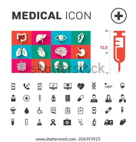 Medical human organs and medical icon set with big syringe - stock vector