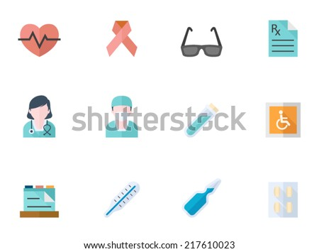 Medical icon series in flat colors style.  - stock vector