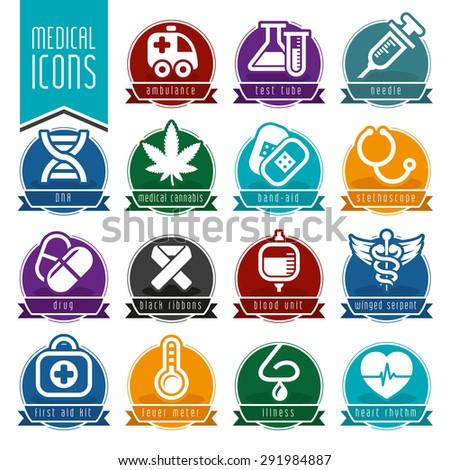 Medical icon set - stock vector