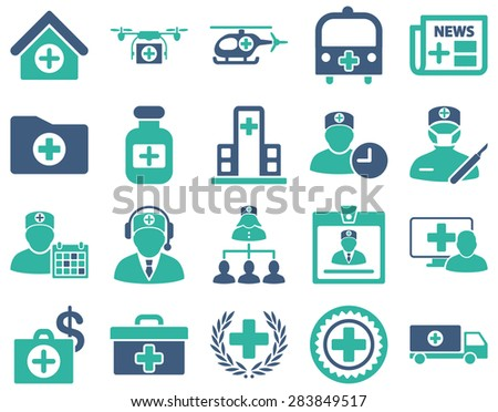 Medical icon set. Style: bicolor icons drawn with cobalt and cyan colors on a white background. - stock vector