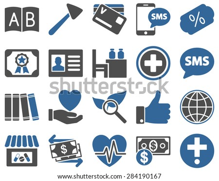 Medical icon set. Style: bicolor icons drawn with cobalt and gray colors on a white background. - stock vector
