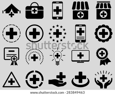Medical icon set. Style: icons drawn with black color on a light gray background. - stock vector
