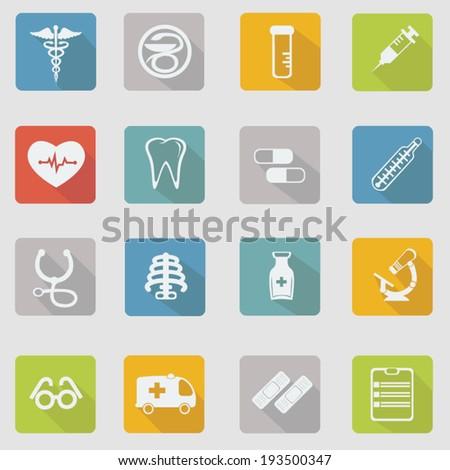 Medical icon set, vector illustration, flat design - stock vector