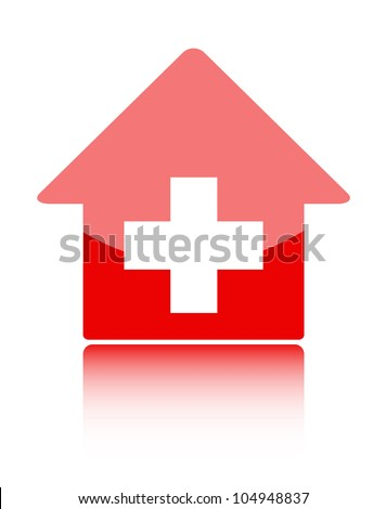 Medical icon with red hospital symbol - stock vector
