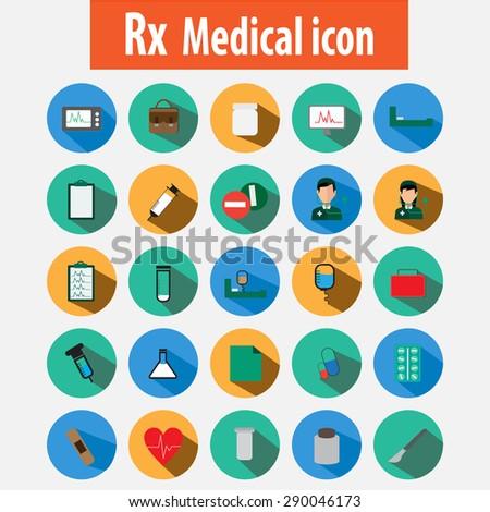 Medical icons button flat design vector. - stock vector
