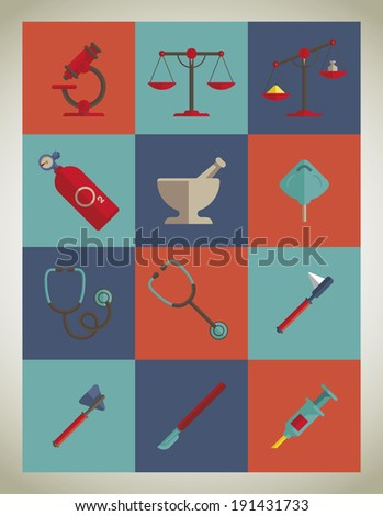 Medical icons colorful - vector illustration - stock vector