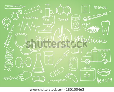 Medical icons doodle vector - stock vector