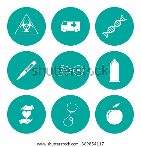 medical icons. Flat design style eps 10 - stock vector