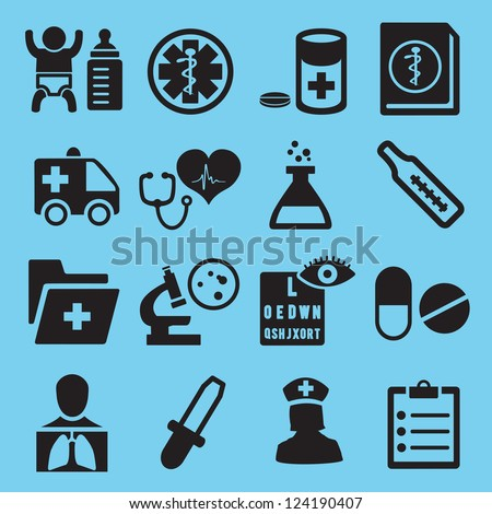 Medical icons for design - vector icons - stock vector