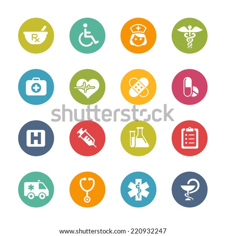 Medical Icons // Fresh Colors -- Icons and buttons in different layers, easy to change colors. - stock vector