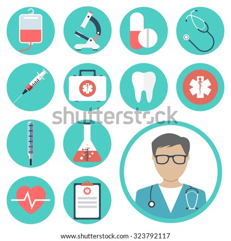 medical icons. medical equipments, tools. colorful template web and mobile applications. flat design. health and treatment. modern concept, vector illustration - stock vector