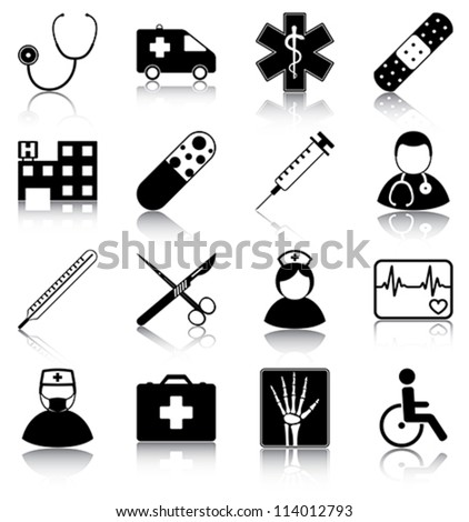 Medical icons - 16 medical related icons. - stock vector