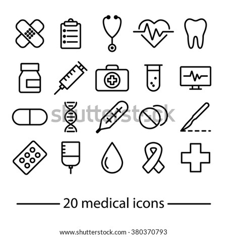 Medical icons. Medical symbols. Hospital and medical. Line icons. - stock vector