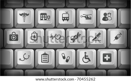 Medical Icons on Gray Computer Keyboard Buttons Original Illustration - stock vector