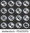 Medical Icons on Metallic Button Collection Original Illustration - stock vector