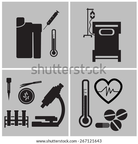 Medical Icons On White Background - stock vector