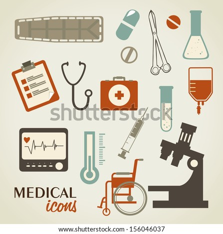medical icons over beige background vector illustration - stock vector