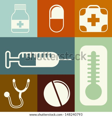 medical icons over colorful background vector illustration  - stock vector